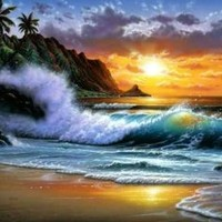 Modern Abstract Oil Painting on Canvas Wall Art Home Decoration Paciffic Ocean Seascape Beach Seashore Big Wave Palm Tree Sunset (48 x 72 Inch (122 x 183 CM))