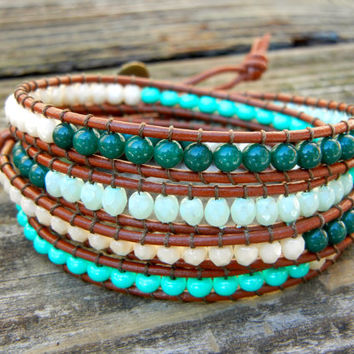 Beaded Leather Wrap Bracelet 4 Wrap with Green Toned Czech Glass Beads on Saddle Brown Leather