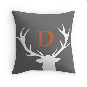 Rustic Antler Decorative Throw Pillow Cover with Custom Letter