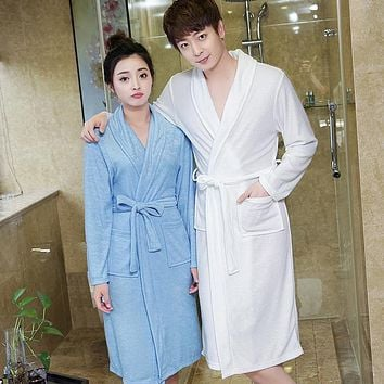 On Sale Men's Coffee Suck Sweat Towel Bathrobe Men Summer Terry Bath Robe Mens Dressing Gown Male Long Robes Lovers Bathrobes