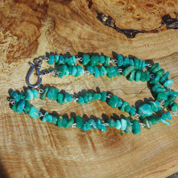 Amazonite Natural Stone Necklace ~ Aqua Stone Necklace ~ Semi Precious Stone Necklace ~ Healing Stone Necklace ~ Boho Stone Necklace
