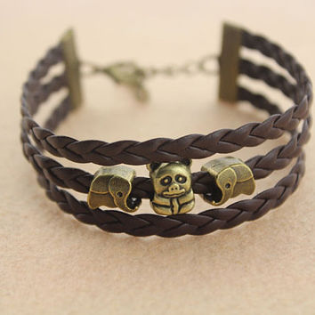 lovely animals beads bracelet--elephant&bear bracelet,antique bronze charm bracelet,brown braid leather bracelet,friendship gift,MORE COLRS