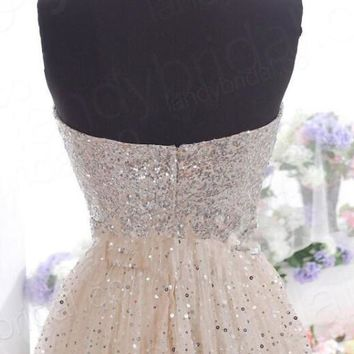 Streetstyle  Casual Patchwork Sequin Pleated Zipper Bandeau Cute Prom Mini Bridesmaid Dress