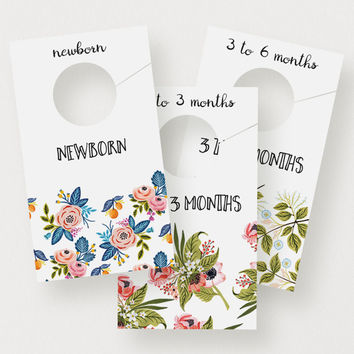 Floral Closet Dividers | Printable Closet Organizers, Modern, Baby, Nursery Decor, Nursery Organization, Painted Florals