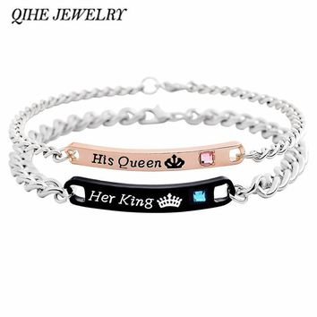 Cool QIHE JEWELRY Couple bracelet Engraved letters His queen&Her king crown tiara with rhinestone bracelet Women man braceletAT_93_12