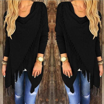 Womens Tassel Solid Sweater