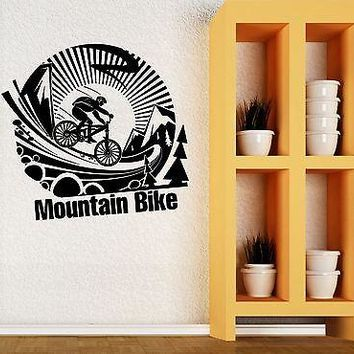 Wall Vinyl Sticker Mountain Bike Extreme Sports Art Bicycle Boys Room Unique Gift (ig2041)