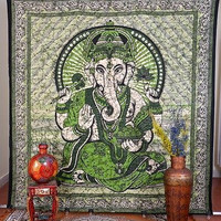 Indian Tapestry Green Lord Ganesha Printed Hanging Double Bed Sheet DBS083GR