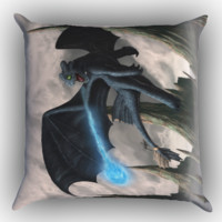 How To Train Your Dragon Night Fury Toothless Z0965 Zippered Pillows  Covers 16x16, 18x18, 20x20 Inches