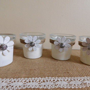 Rustic Flower Pots, Painted Glass Jars, Cottage Chic Decor, Tealight Holders, Set of 4