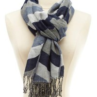 Woven Chevron Fringe Wrap Scarf by Charlotte Russe - Gray Combo