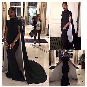 2017 Mermaid Black Girl Prom Dresses High Neck Black and White Sleeveless Cape Long Evening Dresses Formal Gowns Robe De Soiree
