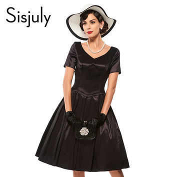 Sisjuly vintage dress a line black women party dress retro 1950s rockabilly pin up dresses elegant grace style vintage dresses