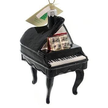 Tannebaum Treasures BLACK PIANO Glass Ornament Music Keys Notes Ha129901