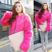 Fun Faux Fur Coat! Animal Friendly! Bolero Style, Sizes S-5X!Pink, White, Blue, Black, Red, Yellow!