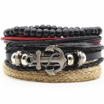 Fashion Handmade Weave Vintage Punk Cuff Charm Genuine Bead Men Leather Feather Anchor Bracelets for Women Female Jewelry