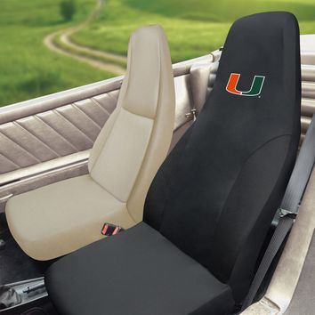FANMATS University of Miami Hurricanes Seat Covers Embroidered Set
