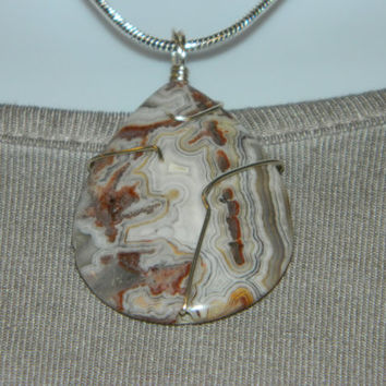 60ct. Brown & White Pattern Stone, Semi Precious, Agate, Pendant, Necklace, Teardrop, Natural Stone, 123-15