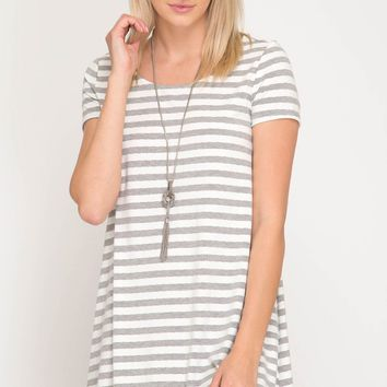 Grey Short Sleeve Stripe Knit Dress