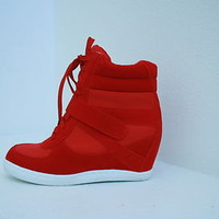 New Womens Fashion Sneakers High Top Lace Wedge Heels Ankle Top Red Shoes