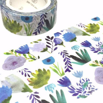 purple flower washi tape 7M fragrant flower purple blue tone flower garden flower deco sticker tape scrapbook diary life planner decor gift