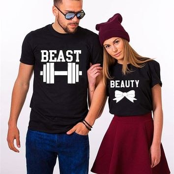 Matching Couple T-Shirts - Beauty & Beast (Bow and Weight)