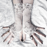 Savanna Long Lace Fingerless Gloves - Pale Ivory & Grey Taupe Embroidered Floral - Wedding Gothic Fetish Bellydance Burlesque Goth Bridal