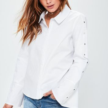Missguided - White Popper Detail Flare Sleeve Shirt