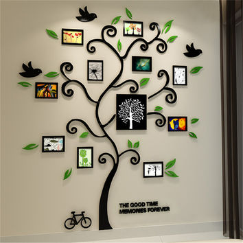 2016 New 11pcs Photo Frame Tree Acrylic 3d Three-dimensional Wall stickers TV Sofa Home Decorative Diy Crystal Decal Family tree