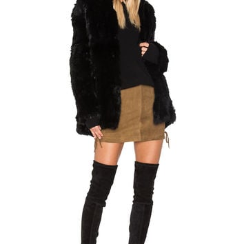 EAVES Denver Rabbit Fur Jacket in Black