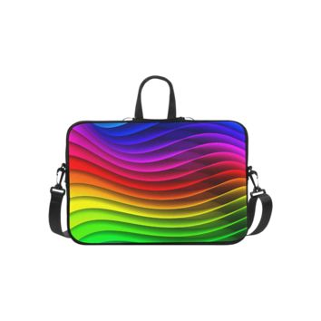 Personalized Laptop Shoulder Bag Glossy Rainbow Stripes Macbook Pro 15 Inch