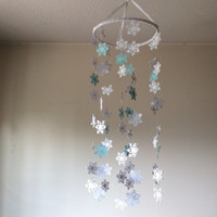 Snowflake paper mobile.  Frozen inspiration snowflake mobile, Home decor, Let it snow, Happy Holidays, Merry Christmas