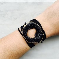 BLACK ON BLACK WRAP BRACELET