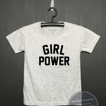 Girl Power Shirt, Kids Birthday Shirt - Boys or Girls Clothing - Funny Birthday, Kid Shirt, little girl, hipster kids, Flock printing