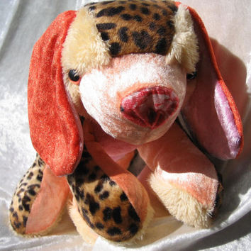 Wild Coral Spaniel CUDDLY PUPPY - pink peach orange salmon Leopard - Toy Dog soft stuffed plush Animal - designed, made in Berlin-Germany