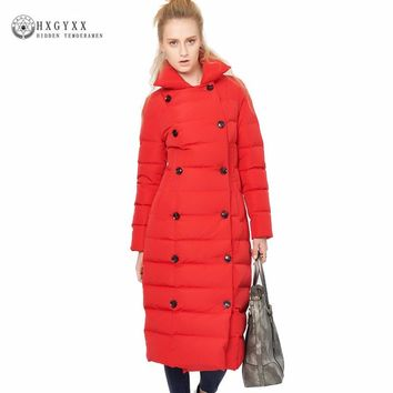 Long Woman Down Coat Thick Warm Stand Collar Plus Size Parka Winter European Red Double Breasted Goose Down Jacket Okb286