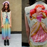 ACID WASH Denim Little Mermaid Disney Velvet DIY Cutoff Vest