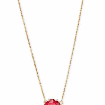 Kendra Scott: Ethan Gold Pendant Necklace In Red Mother Of Pearl