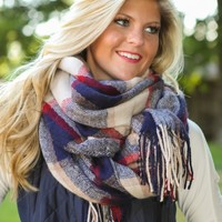 Plaid To The Bone Scarf-Cranberry