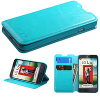 Book-Style Flip Wallet Case for LG Optimus L70 (Exceed 2) - Blue