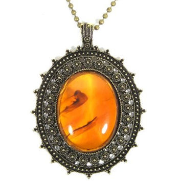 Amber Resin Bead Necklace Victorian Antique Crystal Goth NA15 Vintage Renaissance Pendant Fashion Jewelry