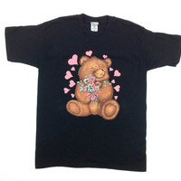 90's Kawaii Bear Holding Flowers Graphic T Shirt // L