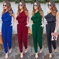Summer ruffles Jumpsuits belt Pants Lapel Elegant Salopette Black Long Trousers one shoulder Rompers women new chiffon coveralls