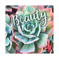 """Beauty"" Mint Green and Pink Cactus Close-up Photo Canvas Print"