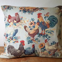 Pillow Cover with Insert Blue Ticking Chickens Sunflowers Rooster 16 x 16 inches Red Brown Ivory Yellow Country Farmhouse