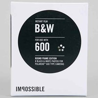 Impossible Round Frame Black + White Polaroid 600 Instant Film