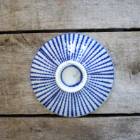 Vintage Japanese Sauce Bowl Set of 5 -  Blue Stripes Sauce Bowls - White Asian Hand painted Sauce Dish