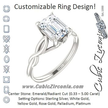 Cubic Zirconia Engagement Ring- The Diamond (Customizable Emerald Cut Solitaire with Braided Infinity-inspired Band and Fancy Basket)