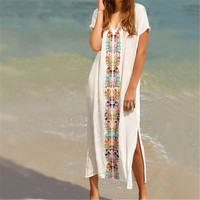 New Arrivals Beach Cover up Rayon Embroidery Swimwear Ladies Vintage Pareo Kaftan Beach Swimsuit Robe de Plage Beachwear #Q18