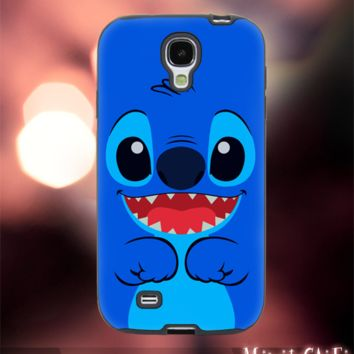MC89Y,24,Stitch,Blue,Face,Body -Accessories case cellphone- Design for Samsung Galaxy S5 - Black case - Material Soft Rubber